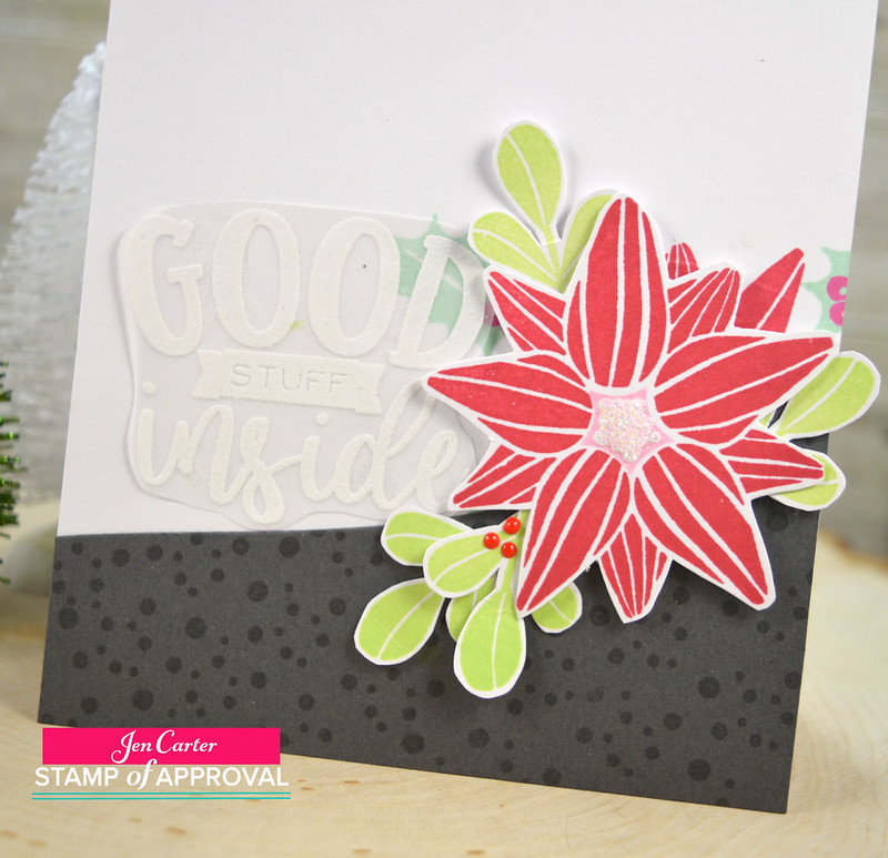 Jen Carter CP Good Stuff Inside Gift Card Poinsettia Closeup 2wm