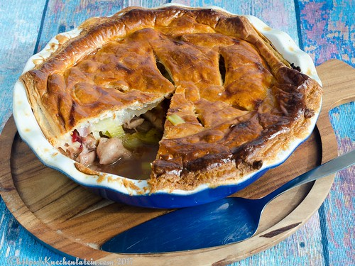 Chicken, leek and plum pie