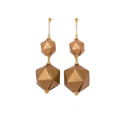 Mayumi Origami Big&Bold Gold Paper Earrings