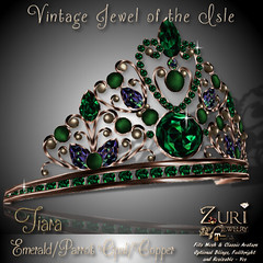 50% Sale-Vintage Jewel of the Isle Tiara Emerald_Parrot_Copper