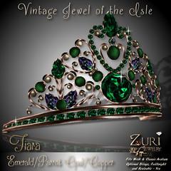 50% Sale-Vintage Jewel of the Isle Tiara Emerald_Parrot_Copper