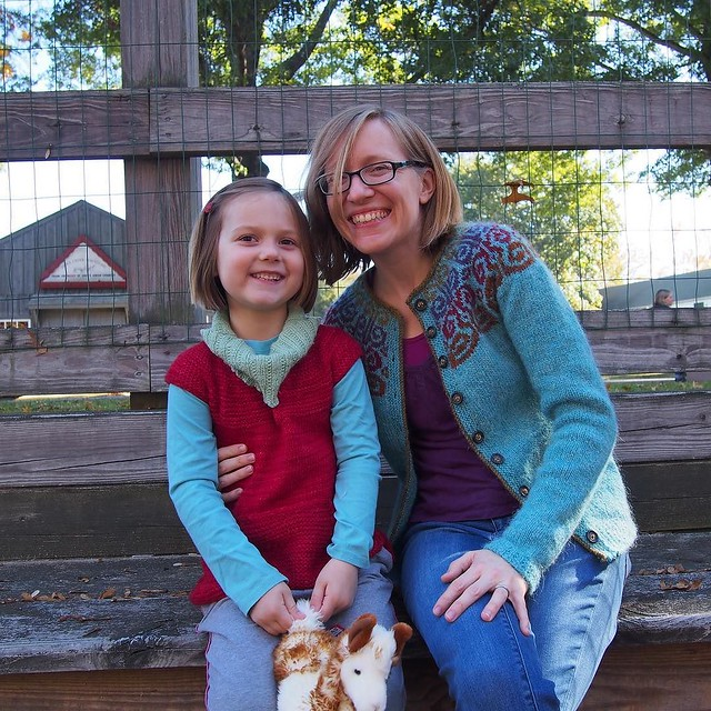 "Our usual benches were fenced off, so this is as close as we could get to our ""traditional"" Rhinebeck photo this year! (OMG, M is getting so big!!)"
