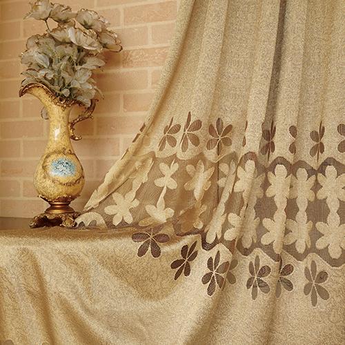 六葉網格花 簡約 雅致花卉 鏤空 半遮光無接縫窗簾布 DA2490022