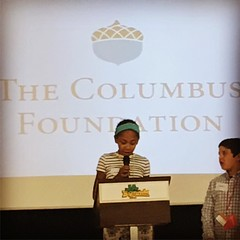 As part of fifth grade economics curriculum, Constance's school takes the kids to @jabiz_town. Each student has a job in a micro version of columbus. Very cool concept. Constance's job was CEO of a non profit- the columbus foundation. She gave a speech in