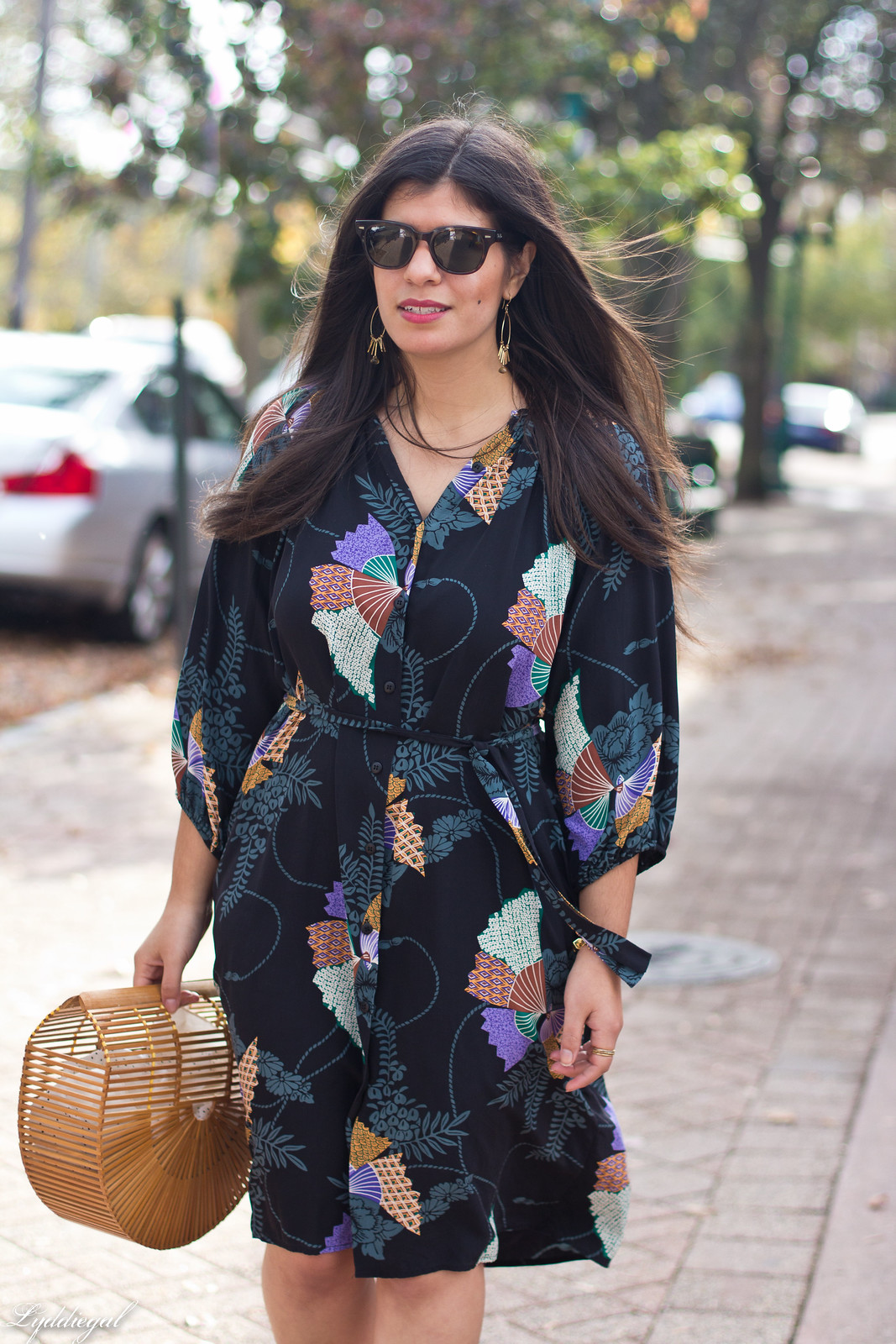 Tucker Japanese Floral Dress, Bamboo Bag, Fall Outfit-6