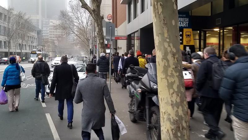 William Street 9am. Narrow footpath + obstructions = people walk on road