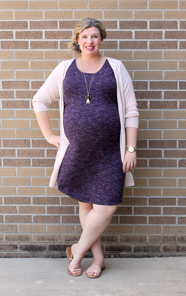 maternity purple dress, long blush cardigan 6