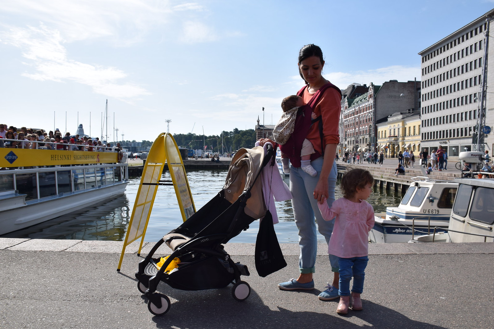 Family stroll by the harbor