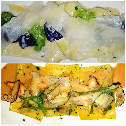 Escargot Pappardelle, Butternut Squash Ravioli with Shrimp