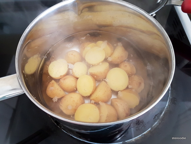 yellow creamer potatoes in pot
