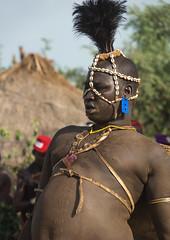 Bodi tribe man celebrating Kael ceremony, Gurra, Hana Mursi, Omo Valley, Ethiopia
