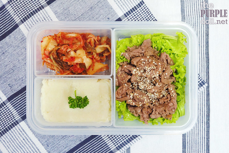 Sesame beef, greens, mashed potatoes and kimchi