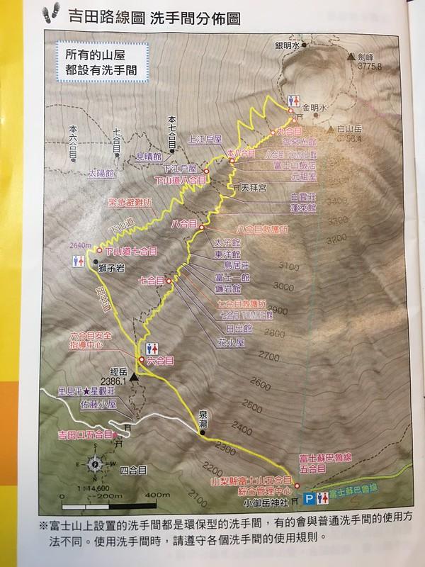 富士山頂下山路線-吉田路線圖
