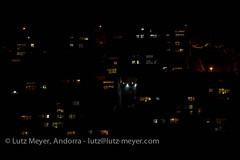Andorra at night: Escaldes-Engordany, E-E, Andorra city, the center, Andorra