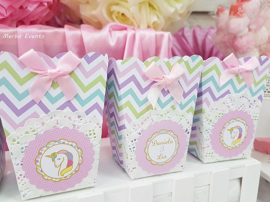 cajas palomitas fiesta cumpleaños unicornio Merbo Events