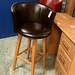 Tall swivel stool leatherette E45