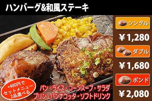 ハンバーグ&和風ステーキ
