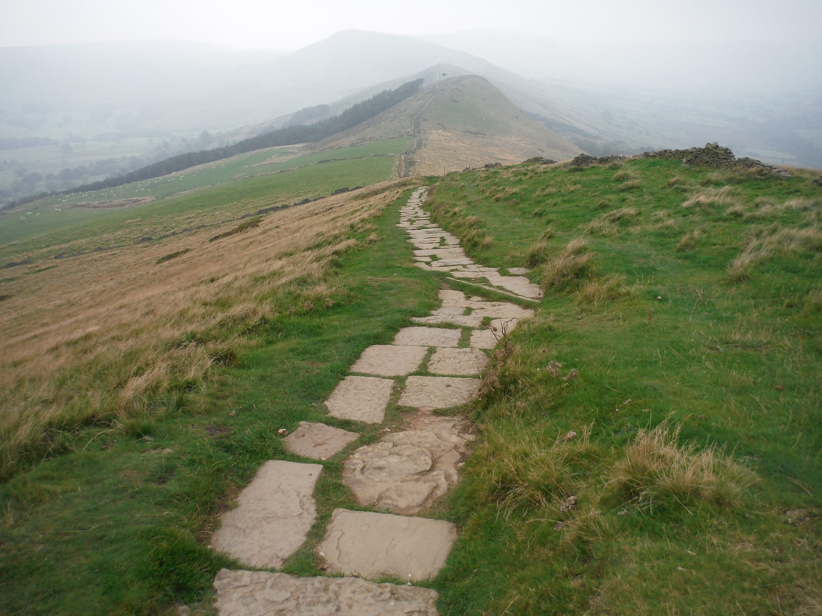 Paved Path from Lose Hill towards Back Tor SWC Walk 302 - Bamford to Edale (via Win Hill and Great Ridge)