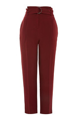 Topshop berry red paperbag waist belted trousers