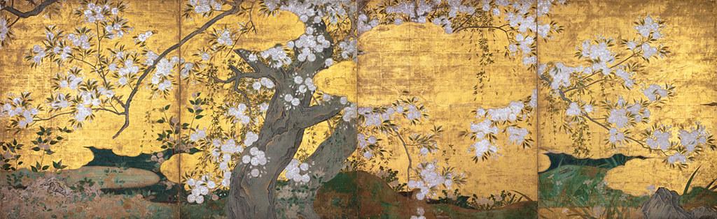 国宝《桜図壁貼付》長谷川久蔵筆(桃山時代・16世紀、京都・智積院、~11月12日展示)