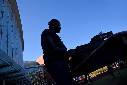 DJ spins some tunes during the Red and White Week Kick-Off on Stafford Commons.