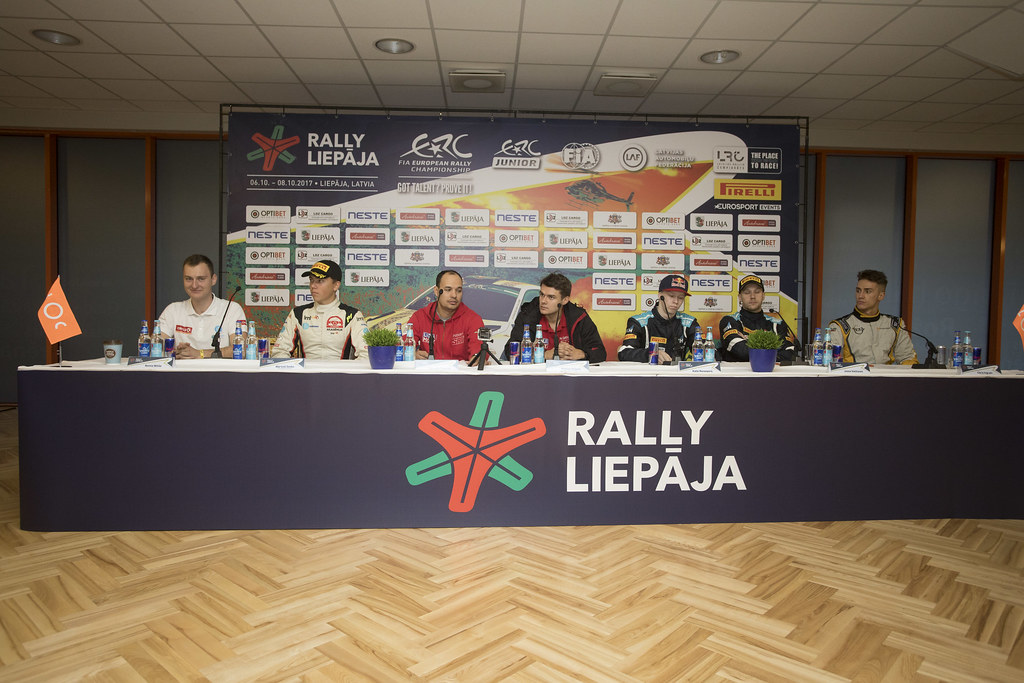 press conference during the 2017 European Rally Championship ERC Liepaja rally,  from october 6 to 8, at Liepaja, Lettonie - Photo Gregory Lenormand / DPPI