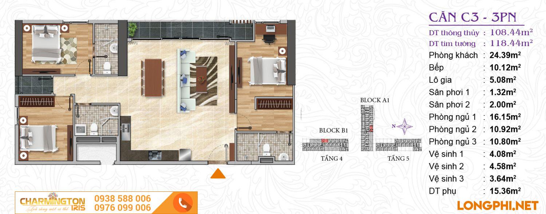 Căn hộ 3 phòng ngủ C3 dự án Charmington Iris Q4.