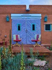 Purple doors and colorful task chairs
