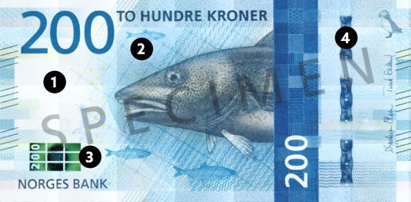Bezpečnostné prvky na nových nórskych bankovkách
