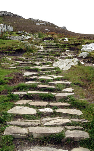 A set of rocky steps lead up a path at Slieve League in County Sligo
