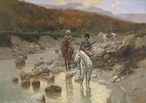 рубо Казаки у горной речки 92