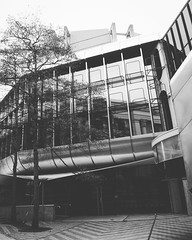 Modern Architecture in Wellington City Center in Black and White A striking modern building among the typical classicism of the city center. Found on a walk through downtown Wellington to the harbor side. #newzealand #wellington #travel #building_shotz #b