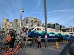 Sounder train crossing in downtown Seattle