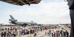 Lines of People Wait for Buses to Leave the Airshow
