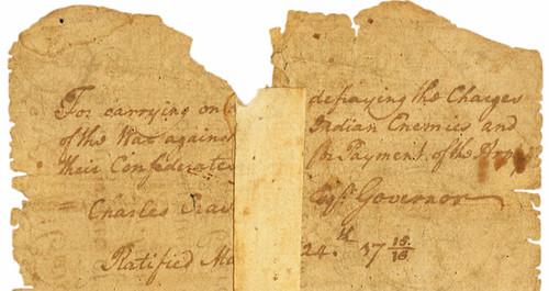 South Carolina August 27, 1715 Act 4 Pounds back inscription