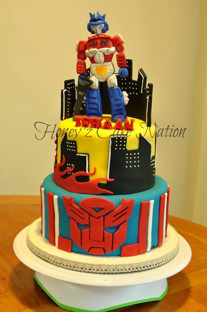 Transformers Themed Cake by Harshini Kannegolla of Honey'z Cake Nation