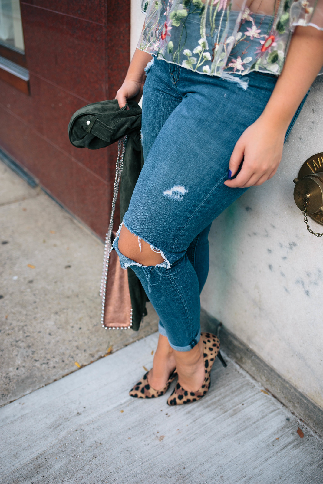 Ripped Knee Girlfriend Blue Denim Jeans Leopard Heels