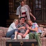 The Foreigner at the Arvada Center, 2017 - Pictured L-R: Jessica Robblee (Catherine Simms), Sammie Joe Kinnett (Charlie Baker), Standing - Lance Rasmussen (Ellard Simms) and Edith Weiss (Betty Meeks). Matt Gale Photography 2017