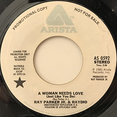 RAY PARKER JR. & RAYDIO:A WOMAN NEEDS LOVE(JUST LIKE YOU DO)(LABEL SIDE-B)
