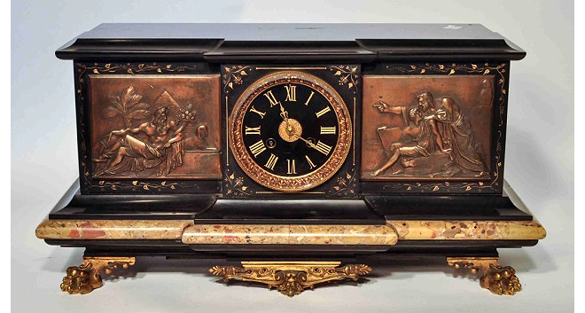 Tiffany Bronze and Marble clock