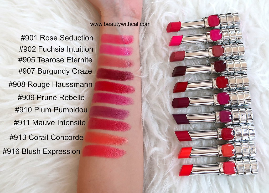Swatches names L'Oreal Color Riche Shine Lipsticks