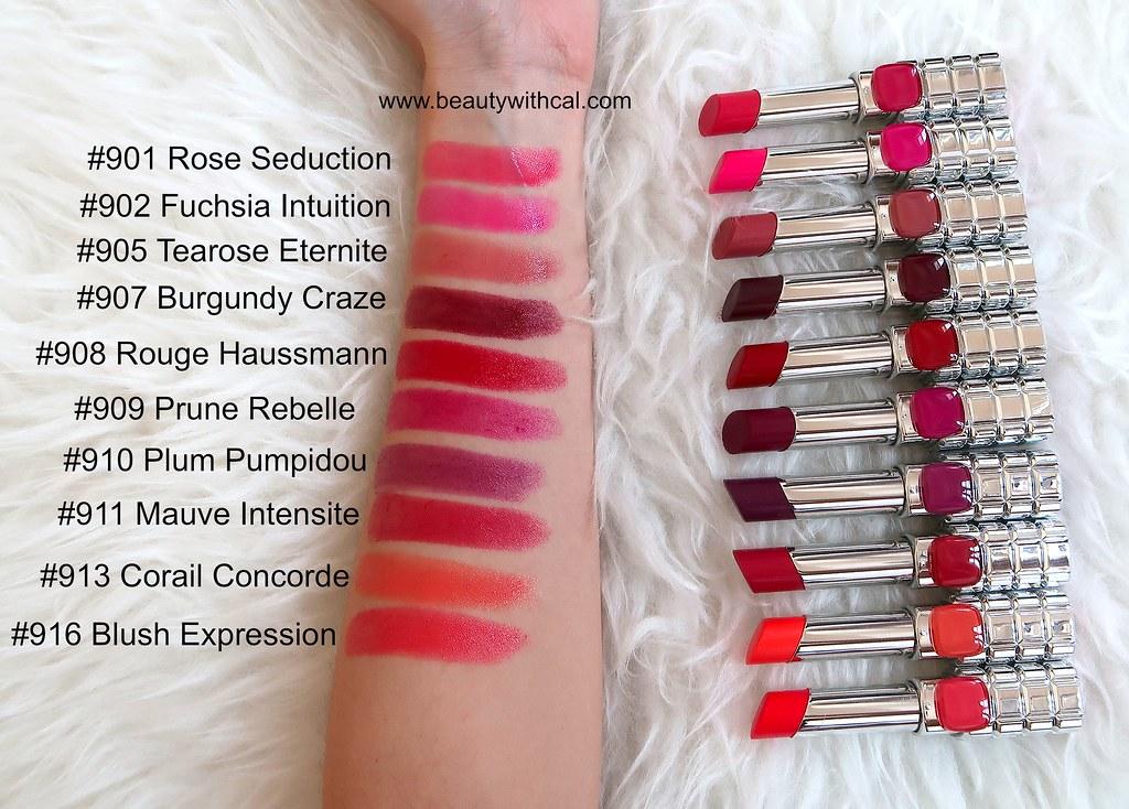 Swatches names L'Oreal Color Riche Shine Lipsticks