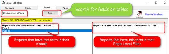 Power BI Helper - RADACAD Cleanup Tool for Power BI - Search