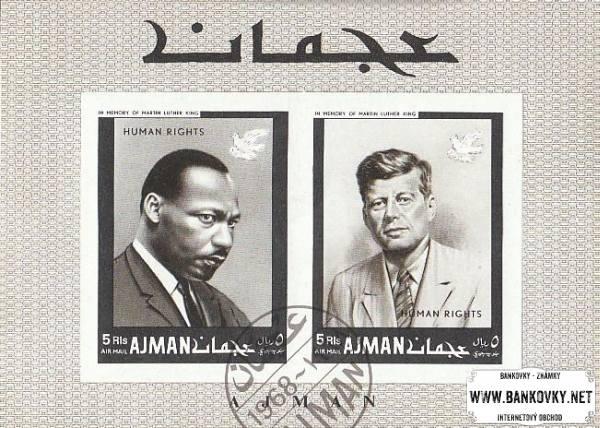 Známky Ajman 1968 Ľudské práva, razítkovaný hárček