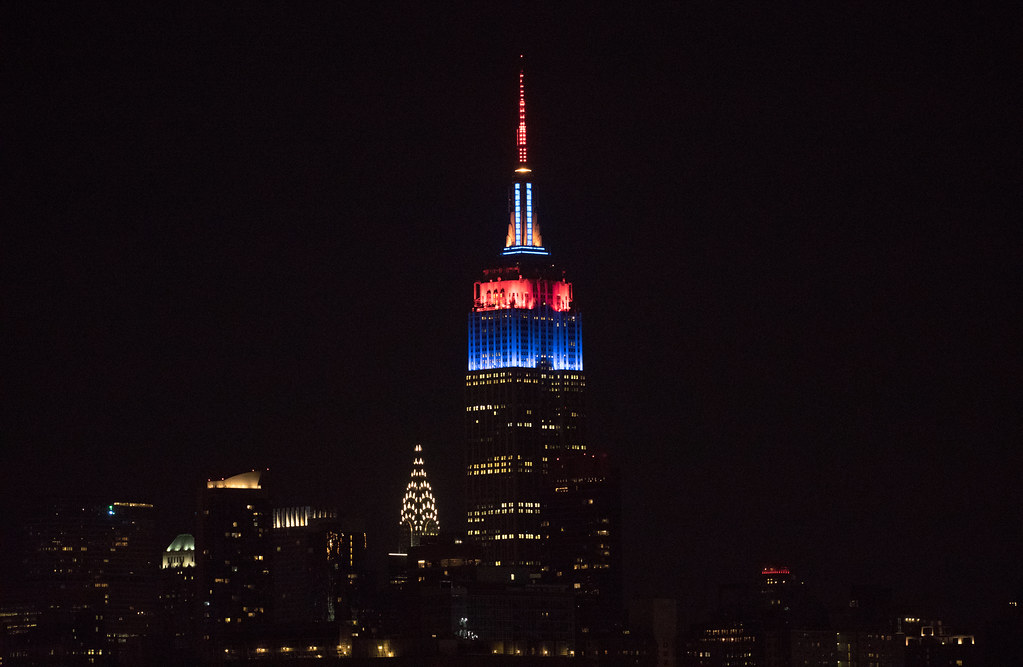 The Empire State Building is lit for the 2017 MLB postseason teams. Here it is in Cleveland Indians colors.