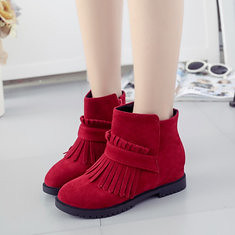 Sexy Tassels Zipper Round Toe Increased Wedge Ankle Short Boots (1090751) #Banggood