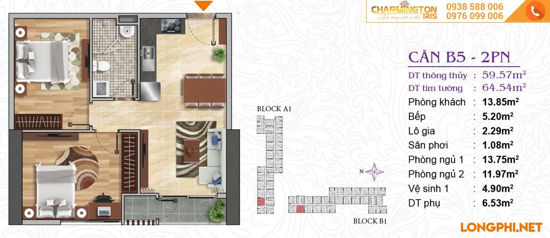 Căn hộ 2 phòng ngủ B5 dự án Charmington Iris Q4.