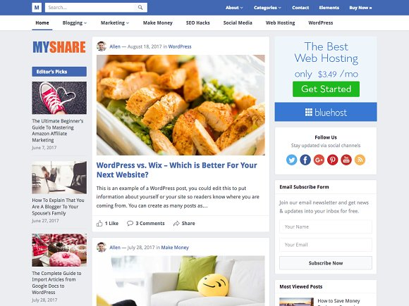 MyShare Pro v1.3 - Creative Blog Theme
