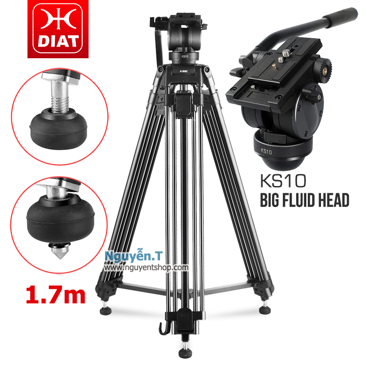 Chân máy quay phim đầu chén DIAT A193CKS10 đế Đinh 2in1 cao 1m7