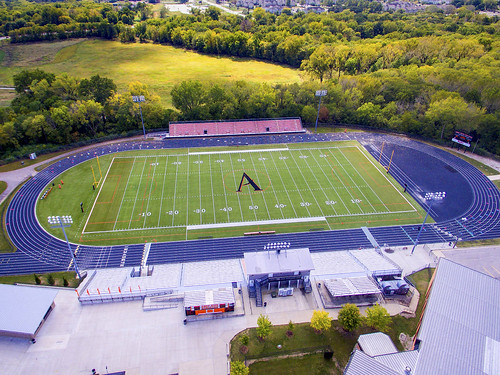 Amaes High School Football Field angle view photos courtesy of Kevin Michael Snyder Photography AHS 1977 taken Sat Sep 23 2017 after AHS tour via drone by Kevin Michael Snyder AHS class of 1977